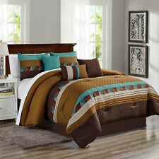 7 Piece Taran Embossed and Pleated Comforter Set Bed-In-A-Bag (King, Brown)