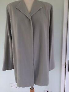 VINTAGE JEAN MUIR Greige 100% Wool 3/4 Length Edge to Edge JACKET - UK 10
