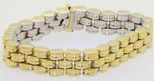 Italian 18K 2-tone gold high fashion 12.5mm wide reversible fancy link bracelet