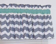 Turquoise & Gray Chevron Window Valance Zig Zag Bathroom Bedroom Nursery Kitchen