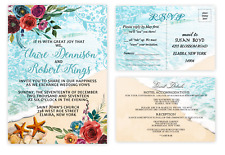 Beach Seashell Wedding Invitations with RSVP and Extra - Starfish Set of 50