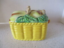 """VINTAGE  """"WALES"""" CHINA COVERED CANISTER, BASKET HAS PEAR LID, MADE IN JAPAN, VG"""