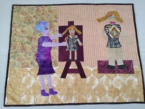 "African art quilt primitive machine applique purple brown 30"" x 24"" SWAHILI guc"