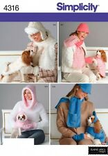 SIMPLICITY PATTERN 4316 OWNER & PET MATCHING - DOG COAT HAT, OWNER HAT SCARF ETC