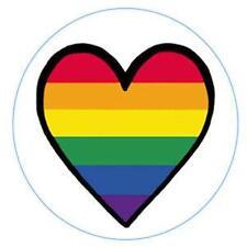 Large Gay Pride Rainbow Heart Metal Button Pin Lesbian
