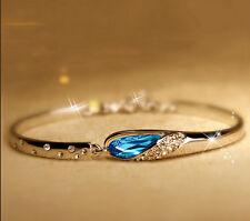 Fashion Women Silver Plated Blue Crystal Rhinestone Charm Bracelet Cuff Bangles