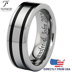 Tungsten Carbide Dual Black Resin Strip Inlay Wedding Band Ring 8MM FREE ENGRAVE