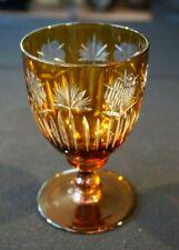 Beautiful Vintage Bohemian Heavy Crystal Amber Glass