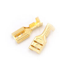 100PCS 6.3mm Brass Crimp Terminal Cable Female Spade Connector Gold Tone