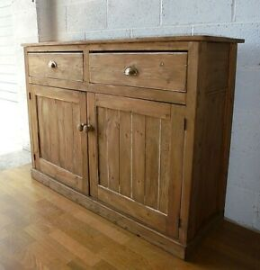 LARGE COUNTRY RUSTIC ANTIQUE PINE SIDEBOARD CUPBOARD WITH DRAWERS
