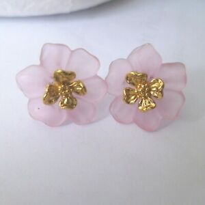 """UNUSUAL PINK & GOLD FLOWER STUD EARRINGS....""""CAN BE WORN WITHOUT THE PINK"""" !"""