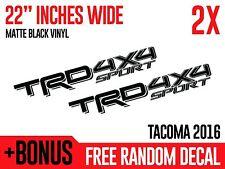 (2x) TRD 4x4 SPORT Toyota Tacoma 2016 Matte Black Vinyl Decals Stickers
