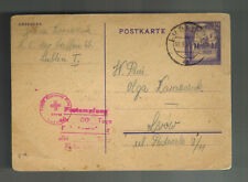 1944 Lublin Concentration Camp KZ Germany Poland Postcard Cover to Lvov Red Cros