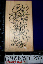 MORNING GLORY VINE FLOWER RUBBER STAMP DUCKS IN A ROW