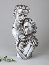 Exclusivo Decoración Busto Escultura FAMILIA DE CERÁMICA BLANCO/PLATA altura