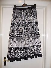 Black + white flower print boho skirt 12 w/ sequins ethnic hippy cotton