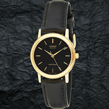 Casio MTP1095Q-1A Mens Black and Gold Watch Analog Leather Band Quartz New