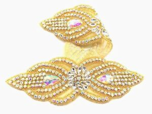 Beautiful Gold Ab Motif Hand Sewing Iron On Bridal Dress Patch Clothes Applique