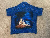 KENNINGTON LTD. Short Sleeve Floral Hawaiian Shirt Button Down Blue Men's Sz XL