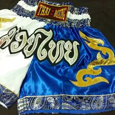 Kick Boxing Shorts Muay Thai Mma Fight White Blue Color Size Xl Satin Unisex