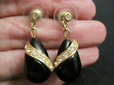 "Avon Gold Tone Black Dangle Earrings with Rhinestones 1 1/4"" tall"