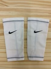 Nike Soccer Shinguards Compression Sleeves, White, Adult L