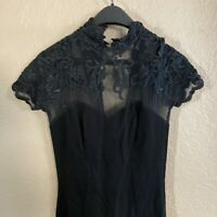 Cache Black Dress Sz Medium Embroidered Lace Shoulders Cap Sleeve Front Leg Slit