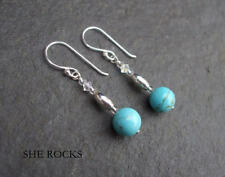 Handmade Turquoise Drop/Dangle Round Fine Earrings
