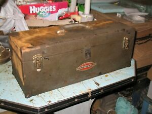 VINTAGE CRAFTSMAN OLD STYLE LOGO METAL TOOL BOX WITH TRAY 19 x 7 x 7