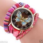 Fashion Womens Ladies Watches Knit Butterfly Analog Quartz Bracelet Wrist Watch