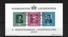 LIECHTENSTEIN MS279A, 1949 PHILATELIC EXHIBITION SHEET,FINE USED C.T.O. CAT £225