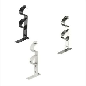 2 pk Double Curtain Pole Holder Hanging Bracket for up to a 28mm Diameter Pole
