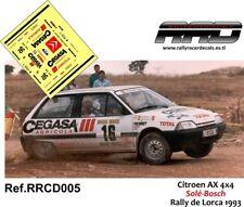 DECAL/CALCA 1/43; Citroen AX; Solé-Bosch; Rally de Lorca 1993