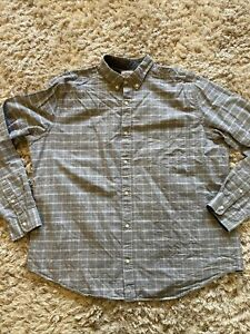 """Next Mens Laudered Shirt Grey Checked Long Sleeve Size XXL 52"""""""