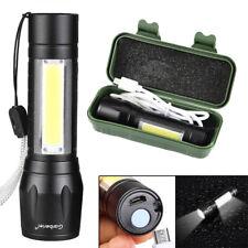 Lampe torche à main de poche rechargeable sur USB puissante forte COB XPE LED