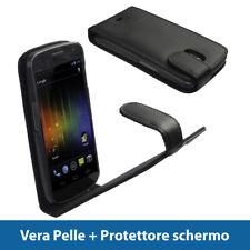 Nero Vera Pelle Custodia per Samsung Galaxy Nexus i9250 Case Cover Protezione