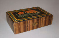 Old Antique vtg 19th C 1850s Grain Painted Folk Art Wooden Box Decorated Nice