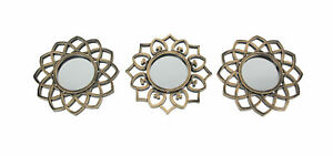 Set of 3 Elegant Antique Metallic Gold Finish Ornate Frame Wall Mirrors