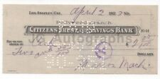 Marion Mack - American Actress - Signed Check, 1932