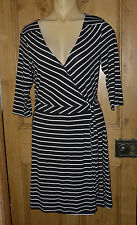 3/4 Sleeve Casual Striped Wrap Dresses