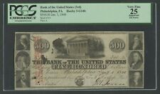 3RD BANK OF THE UNITED STATES PHILA., PA $500 JAN 1,1840 PCGS 25 VF HW5616