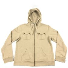 Polo Ralph Lauren Womens Petite Size L/P Tan Full Zip Hoodie Drawstring Sweater
