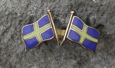 Crossed Swedish National Flags Sweden Scandinavian Cross Svenska Pin Badge