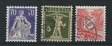 FRANCOBOLLI 1924/36 SVIZZERA 3 VALORI USATI D/4368
