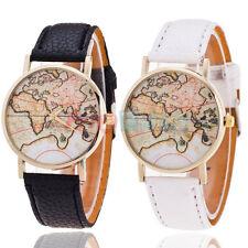 Quarzo da Vintage Orologi Polso MAPPA MONDO Pelle Cuoio Uomo Donna Wrist Watch v