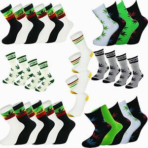3-4-6 PAIRS.Rasta Stripe Lion of Judah Ganja Leaf Stay Smokin Sport Socks 6-11