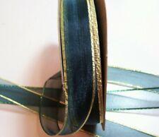 Sheer Hunter Green Organza Ribbon 7/8 inch x 10 yards, Metallic Gold Edge