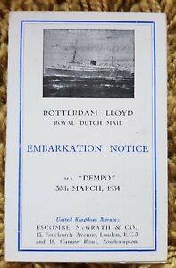 Rotterdam Lloyd, Royal Dutch Mail S.S.Dempo Embarkation Notice March 30th 1934