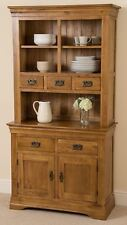 French Rustic Solid Oak Small Welsh Dresser Cabinet Wall Unit Dining Room