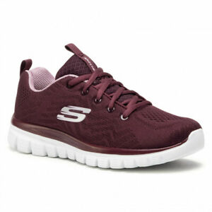 Skechers, Sneakers donna con Memory Foam, Graceful-get connected 12615 Wine